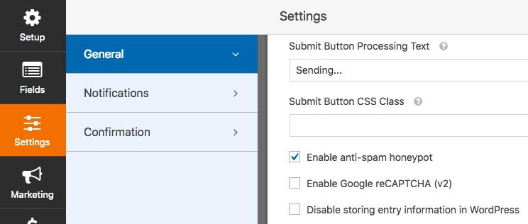 WPForms settings